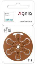 Siemens 312 Mercurio Libre Audífono Baterías Células x60 (Nuevo Embalaje)
