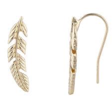Lux Accessories Gold Tone Boho Casted Feather Ear Creeper Ear Cuff Ear Threader