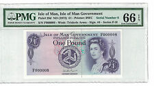 BANK OF ISLE of MAN 1 POUND 1972 PICK#29d FANCY S/N F000008 PMG 66 EPQ (#PL686)