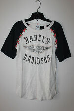New Harley-Davidson women Winged B&S Laced short sleeve Tee top size S