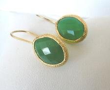 Calcedon grün Ohrringe, 925 Silber vergoldet