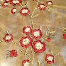 """SILK SHEER EMBROIDERY FLOWERS RED HENNA 3 YARDS WIDTH 54"""""""