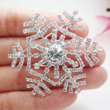 Silver Tone Snowflake Flower Clear Rhinestone Crystal Bride Wedding Brooch Pin