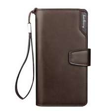 Three Folds Thin Leather Men's Zipper ID Credit Card Coin Photo Bankbook Wallet