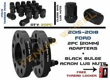 PAIR OF (20MM) WHEEL SPACERS FOR MUSTANG GT 2015+(20) ACORN LUT NUTS