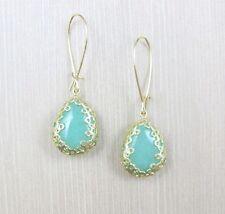 Anthropologie Seafoam SEMI PRECIOUS JADE STONE Mint Green Gold Teardrop Earrings