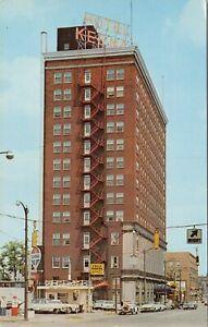 Vintage chrome postcard, old cars, Hotel Keenan, South Harrison St, Fort Wayne