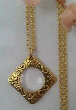 Magnifying Glass Statement Necklace - pendant flower gold chain long adjust fine