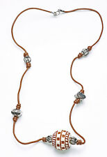 EXCITING ETHNIC DARK TAN STRING NECKLACE WITH SILVER & CREAM PLASTIC BEADS(ZX46)
