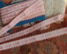 """New listing .5"""" Wide Pink vintage ribbon 3 yards Dolls Floral"""