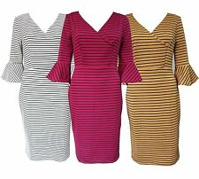 Polyester 3/4 Sleeve Striped Dresses for Women