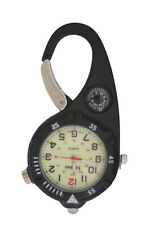 Mini Clip Watch – Compact Analog Display Carabiner Black Watch Ultra Bright LED