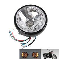 """Motorrad Haupt Scheinwerfer 7"""" Zoll H4 schwarz klar für Harley Honda Yamaha"""