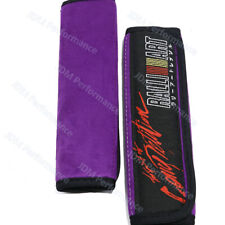 2X Purple RALLIART Racing Embroidery Suede Fabric Seat Belt Cover Shoulder Pads