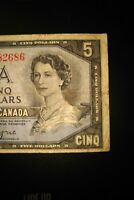 1954 Devil's Face $5 Dollar Bank of Canada Banknote GC1782686