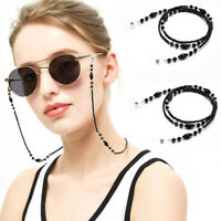 [2-Pack] Beaded Pearl Eyeglass Retainer Holder Strap Cord Chain Necklace (Black)