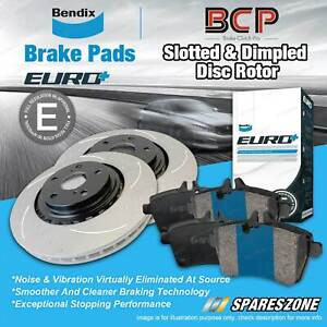 Front Slotted Rotors Bendix Brake Pads for Volkswagen Amarok AG 2WD 4WD With ABS
