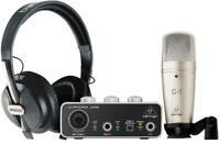 BEHRINGER U-PHORIA STUDIO BUNDLE INTERFACCIA AUDIO USB UM2 + MICROFONO C1 + CUFF