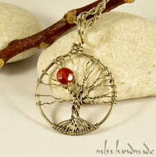 Natural Carnelian Crystal Star Tree Of Life Pendant German Silver Wire Wrapped