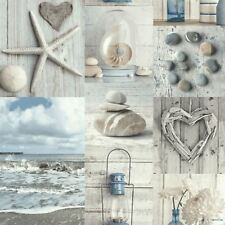 MARITIME COLLAGE WALLPAPER SEASIDE PEBBLES SHELLS - BLUE / GREY ARTHOUSE 699000