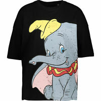 DISNEY Women's Dumbo Smile Slouch T-shirt Top, Black, size UK 10 / medium
