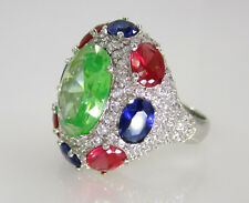 Estate Huge Sterling Silver Bright Colorful Dyed Green Pink Blue Topaz Ring