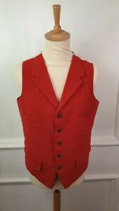 Cordings of Piccadilly Waistcoat Hunting Moleskin Sz38 Red Tattersall