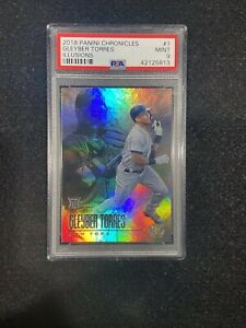 Gleyber Torres 2018 Panini Illusions: ROOKIE Card #1, PSA Graded 9 Mint.