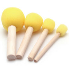 4pcs Paint Brush Wooden Handle Seal Painting Sponge Diy Tools Set Yellow Co