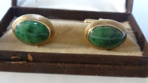 Very Nice Vintage 14K Gold Natural Green Jade Cufflinks