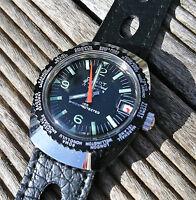 Vintage 1970´s NOS Duxot World Time Swiss Made 17 Juwels Black
