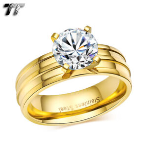 TT 6mm Gold-Tone Stainless Steel Engagement Wedding Band Comfort fit Ring (R302)