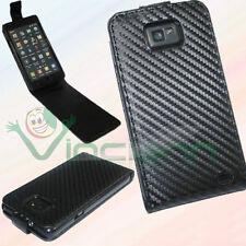Pellicola+Custodia CARBON per Samsung i9100 Galaxy S2 SII nera BK foderino