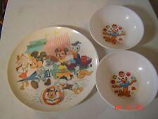 Vintage 1972 Disney Dishes, 3 pieces