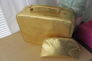 2pc Large Estee Lauder Yellow Gold Makeup Train Case