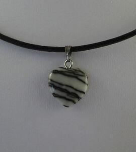 "Various Gemstone Heart pendants & 18"" Imitation Black leather Cord Necklace."