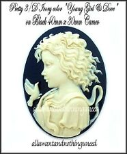 2 NEW IVORY color YOUNG GIRL & DOVE on BLACK 40mm x 30mm COSTUME JEWELRY CAMEOS