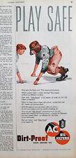 1950 AC dirtproof oil filter redhead boy football pads playsafe vintage ad