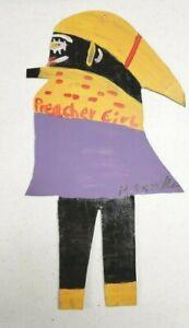 R A Miller Folk or Outsider Art Rare Preacher Girl Painted on Tin Signed