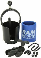 RAM MOTORCYCLE ATV Handlebar Drink MUG Cup Holder & Cozy Mount SELF LEVELING USA