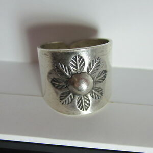 Fine Silver Rings Hill tribe Karen Argento Anello Band Tribal Engrave Leaves L36