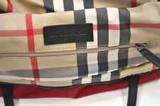 BURBERRY Womens Leather Red Nova Check Packable Shopper Purse Tote