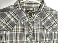 Helix Mens Western Long Sleeve Button Down Pearl Snap Shirt Size 2XL Gray Plaid