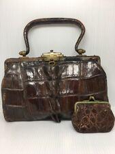 Antique 1900's Double Hornback Alligator Tail Art Deco Purse Handbag w Coinpurse