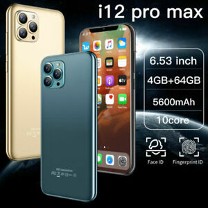 "i12 Pro max 6.53"" Face ID Fingerprint Smartphone Android 10 4+64GB 5600mah Phone"