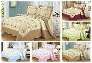 3 Piece Reversible Floral Embroidered Quilted Throw Bedspread Comforter Bed Set