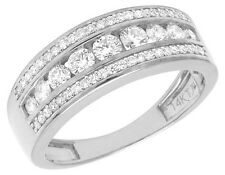 14K White Gold Genuine Diamond Men's Channel Wedding Band Ring 1 1/3 CT 8MM