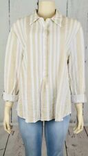 J. Bee Womens Size Xl Beige White Button Front Long Sleeve Rayon New Shirt Top