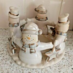 International Bazaar Holiday Candleholder Snowmen Circle