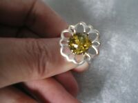 Baltic Green Amber ring, size P/Q, 10mm round, 2.4 grams of 925 Sterling Silver